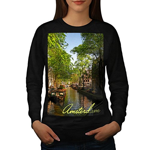 Amsterdam City Lake Town River Women NEW Black XL Sweatshirt | Wellcoda Amsterdam Island