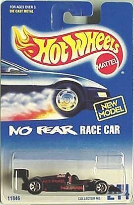 Mattel Hot Wheels 1991 1:64 Scale Black No Fear Race Car Die Cast Car Collector #244 - 1