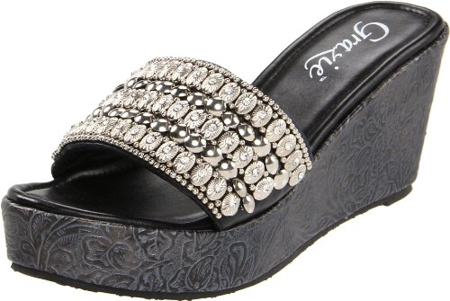 Grazie Women'S Bracelet Wedge Sandal,Black,8.5 B Us front-987983