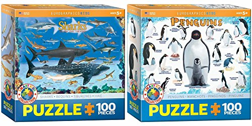 Sharks-and-Penguins-Puzzle-Bundle-Two-100-Piece-Jigsaw-Puzzles