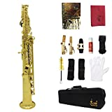ammoon Soprano Saxophone SAX Bb Brass Lacquered Body and Keys with Lubricating Cork Grease