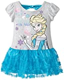 Disney Little Girls' Frozen Elsa Dress with Puff Slvs and Glitter Tulle Tiers