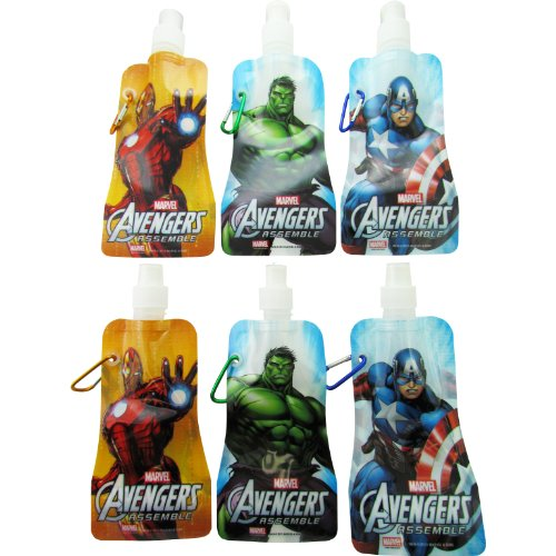 6-Pack Marvel Avengers Collapsible Foldable Water Bottles (12 Oz) And 12-Pack Summer Shaped Silicone Bracelets - Bpa Free - Marvel Heroes Party Favors For Kids And Marvel Heroes Party Supplies For Kids - Included Are 2 Captain America Water Bottles, 2 Inc