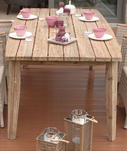 Dreams4Home Gartentisch 'Nales' - Tisch, Balkontisch, Esstisch, Terrassentisch, 200 x 100 cm, Kunststoff, Consul Garden Möbel, Balkonmöbel, Gartenmöbel, Terrasse, Outdoor, gebürstetes Akazienholz, in brown washed