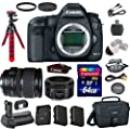 Canon EOS 5D Mark III 22.3 MP Full Frame CMOS Digital SLR Camera with Canon EF 28-135mm f/3.5-5.6 IS USM Lens + Canon EF 50mm f/1.8 STM Lens + Transcend 64GB Memory Card + Canon Deluxe Case