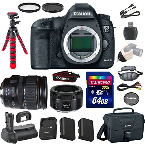 Canon EOS 5D Mark III 22.3 MP Full Frame CMOS Digital SLR Camera with Canon EF 28-135mm f/3.5-5.6 IS USM Lens + Canon EF 50mm f/1.8 STM Lens + Transcend 64GB Memory Card + Canon Deluxe Case (Canon 7d Mark Ii Experience compare prices)