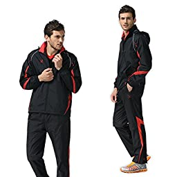 Fuerza Mens Built-In Hood Extra Warm Track Jacket Pants Woven Tracksuit (Black/Red) (Medium)