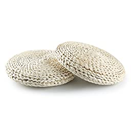 Pack of 2 Handcrafted Eco-friendly Breathable Padded Knitted Straw Flat Seat Cushion 11.8\