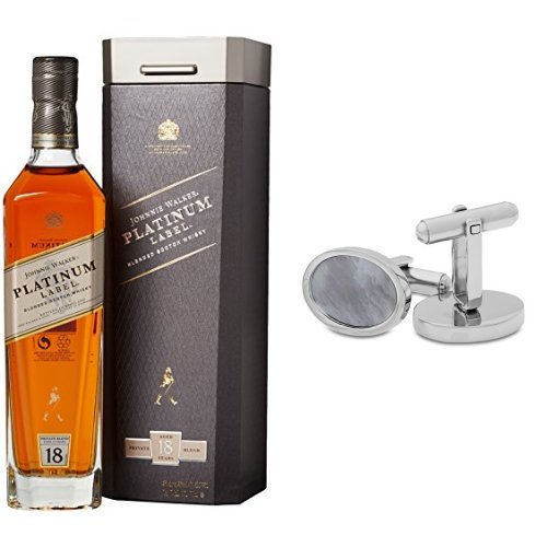 discount duty free Johnnie Walker Platinum Label Blended Scotch Whisky and Miore Stainless Steel and Shell Cufflinks