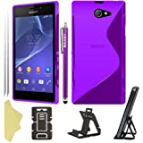 BAAS® Sony Xperia M2 - Stylish Purple S Line Gel Case Cover , Touch Screen Stylus Pen , 2X Screen Protector Guard & Desktop Stand
