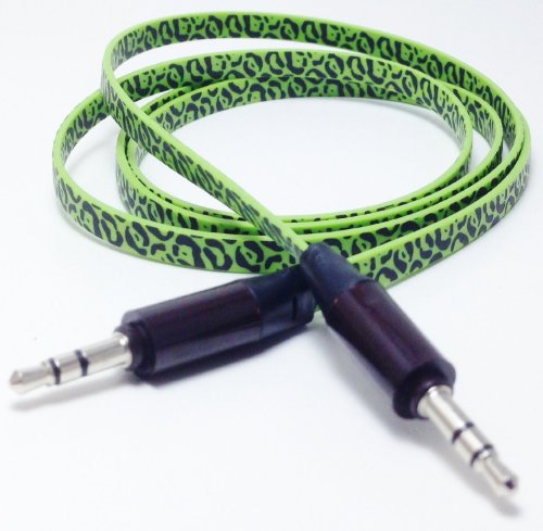 Cablesfrless (Tm) 6Ft 3.5Mm Patterned Tangle Free Auxiliary (Aux) Cable (Leopard Green)