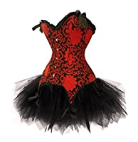 Red Corset Moulin Rouge Burlesque with Tutu Skirt Ladies Lingerie