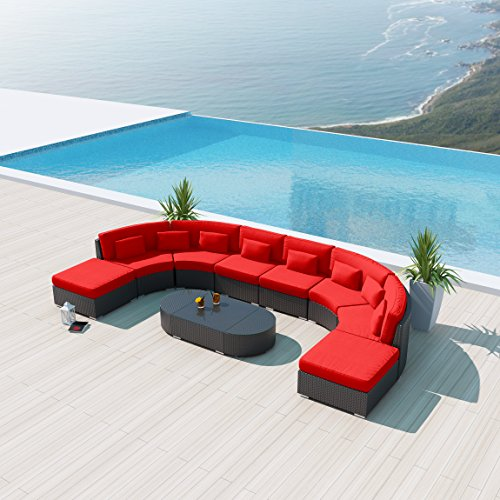 New Uduka Vienna 9pcs Outdoor Red Round Sectional Patio