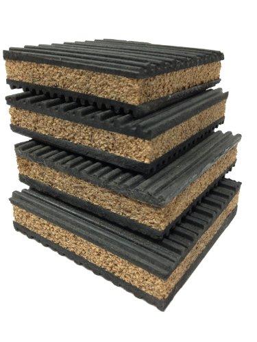 "4 Pack Of Anti Vibration Pads 4"" X 4"" X 7/8"" Rubber/Cork Vibration Isolation Pads"
