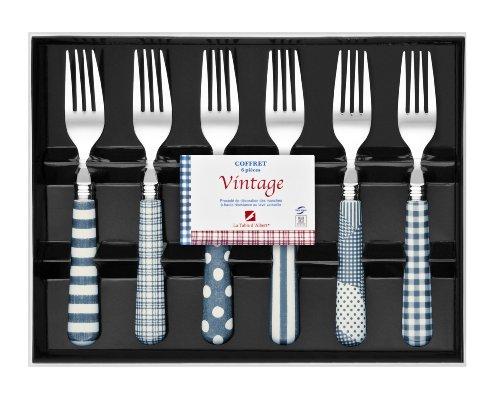 La Table d'Albert 596032 Vintage Coffret de 6 Fourchettes Acier Inoxydable Bleu