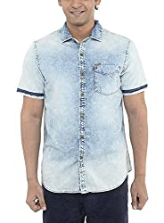American Bull Men's Casual Shirt (ABSH6023, Blue, Large)