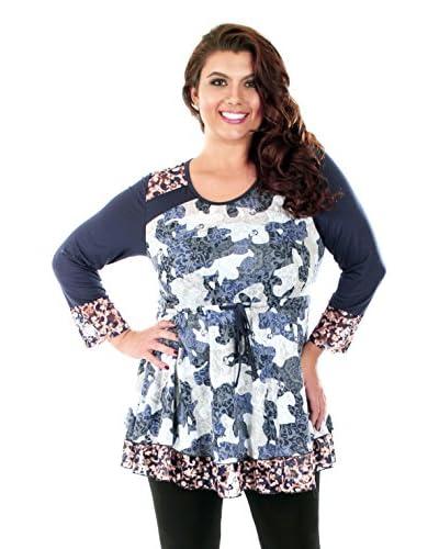 Aster Blue Plus Women's Print Contrast Tunic