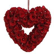 RAZ Imports – 10″ Red Rose Heart Wreath