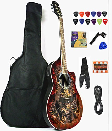 Moz Full Size Round Back Red Top Acoustic Electric Guitar Bundle With Bag, Strap, Extra Set Of Strings,12 Picks, Pick Holder, String Winder, Pitch Pipe & Cable