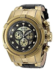 Invicta Mens Reserve Bolt Zeus Swiss MOP Gold Dial 18KT GP Leather Strap Watch 18458