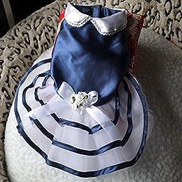 Saver Blue Navy Summer Dog Dress Skirt Puppy Princess Dress Bow-knot Dog Skirt