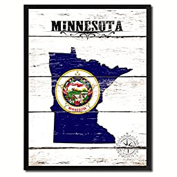 Minnesota State Flag Map Art Picture Frame Vintage Office Interior Wall Home Decor Cottage Chic Gift Ideas, 18''x23''
