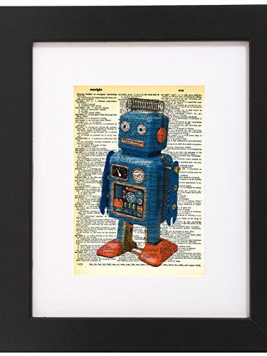Dictionary Art Print Retro Robot Toy Printed On