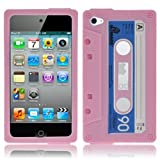 LUPO Retro Cassette Tape Style Silicone Skin Case for iPod Touch 4 4G - PINK