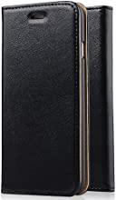 [Genuine Leather] [Apple New iPhone 6 (4.7) Wallet Case]- iXCC ® [Stand Feature] [Classic Vintage Elegant Look] Premium Ultra Slim with Stand Flip Cover , Protective Soft Geniune Leather [Book Style] Folio Wallet Case - for Apple iPhone 6 4.7 Inch Late 2014 Model [Black]