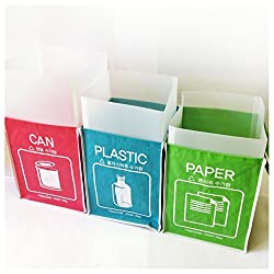 Recycle Bag Separate Recycle Bin Waterproof Wastebaskets with Inner Frame