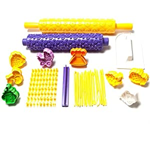 107 Piece Ultimate Cake Decorating Baking Sugarcraft Set with Cookie Cutters, Embossed Rolling Pins, Alphabet Press by Kurtzy TM