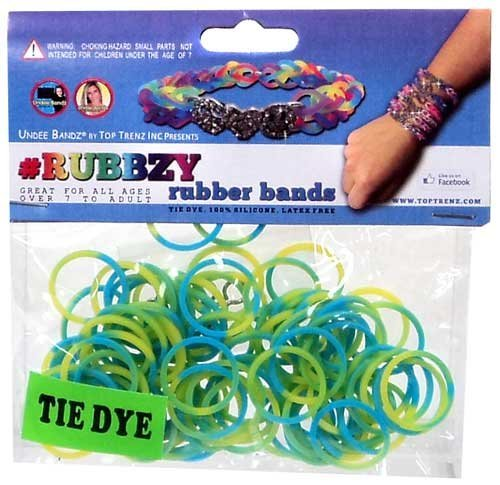 Undee Bandz Rubbzy 100 Green & Blue Tie-Dye Rubber Bands with Clips - 1