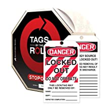 Accuform Signs TAR426 Tags By-The-Roll Lockout Tag, &#034;Danger - Locked Out - Do Not Operate&#034;, On Roll in Octagonal Cardboard Dispenser, PF-Cardstock (Pack of 250)