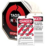 "Accuform Signs TAR416 Tags By-The-Roll Lockout Tags, Legend ""DANGER LOCKED OUT DO NOT OPERATE"", 6.25"" Length x 3"" Width x 0.010"" Thickness, PF-Cardstock, Red/Black on White (Roll of 100)"