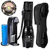 ustopfire A100 Cree XM-L2 2500Lumens LED 5-Mod Flashlight Torch Lamp with Charger and 1 x 18650 Battery and holster