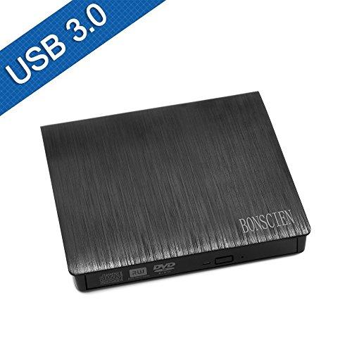 BONSCIEN USB3.0外付けポータブルCD/DVD-RWドライブ 超スリム 携帯型 Windows/Mac OS対応 (ブラック)