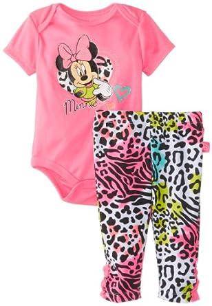 Disney Baby-Girls Newborn Minnie Creeper Pant Set-Pink, 3-6 Months