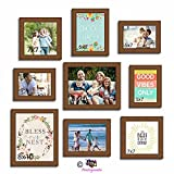 Art Street Set Of 9 Brown Photo Frames With Happy HomePositive Vibes Theme Wall Quote