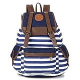 Unisex Fashionable Canvas Backpack School Bag Super Cute Stripe School College Laptop Bag for Teens Girls Boys Students - Blue Stripe