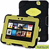 "Kindle Fire Hd 7"" Cover Case New Hot Item High Quality Slim Fit Silicone Plastic Dual Protective Back Cover Standing Case Kid Proof Case for Amazon Kindle Fire Hd 7 Inch(will Only Fit Kindle Fire Hd 7""previous Generation )-Multiple Color Options (Black/Light Green)"