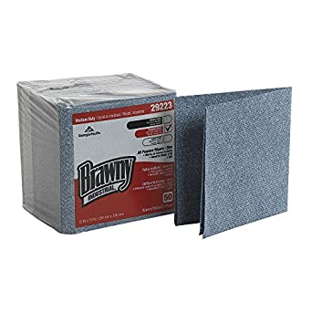 """Brawny Industrial 29223 Blue Medium Duty All Purpose Airlaid Poly Pack 1/4 Fold Wiper, 13"""" Length x 13"""" Width, 50-Count Pack, Case of 8"""