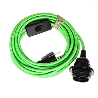 Plug In Pendant Light Cord Grounded Lime Green