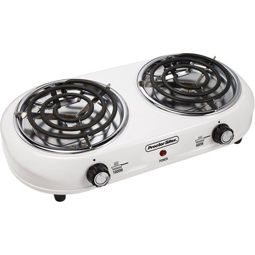 Power light Double Burner, White two easy-clean drip pans min countertop space
