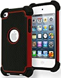 Bastex Hybrid Armor Case for Apple Ipod Touch 4, 4th Generation - Red & Black
