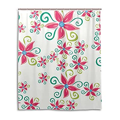 "SUABO Polyester Waterproof Fabric Shower Curtain Decorative Bathroom Curtain with 12 Hooks 60""(w) x 72""(h) Inch, Pink Petal Pattern"