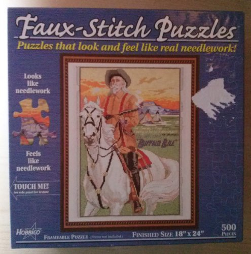 "Faux-stitch Puzzle (Feels Like Real Needlework) Buffalo Bill 500 Pieces 18""x24"" - 1"