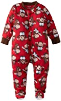 Little Me Baby-boys Infant Gorilla Zip Front Footie, Red Print, 18 Months