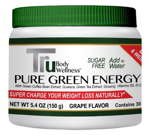 Pure Green Energy Drink Powder, Grape Flavor, 30 Servings. Energy And Weightl...