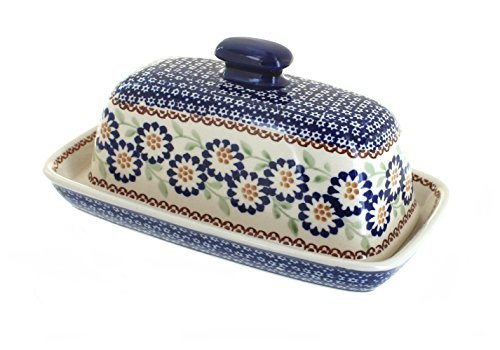 polish-pottery-peach-blossom-butter-dish-by-blue-rose-pottery