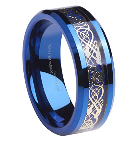 Queenwish Mens 8mm Tungsten Carbide Ring Blue Carbon Fiber Gold Plated Celtic Dragon Wedding Band Size 9 (Imperial Ring Tungsten compare prices)